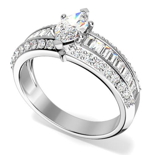 Inel de logodna cu Diamante Dama Platina cu un Diamant Marchiza in Setare Gheare si Diamante Bagheta si Rotund Briliant pe Margini