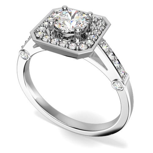 Inel de Logodna Solitaire cu Diamante Mici pe Lateral Dama Aur Alb 18kt cu Diamant Rotund Briliant in Centru si Diamante Mici Rotunde Imprejur