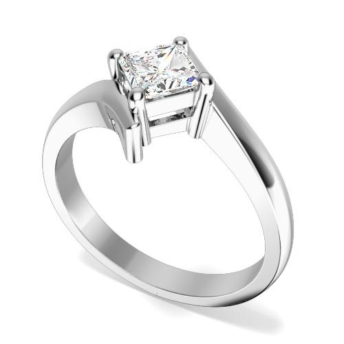 Inel de Logodna Solitaire Dama Aur Alb 18kt cu un Diamant Princess Forma Patrata in Setare Gheare, Stil Rasucit