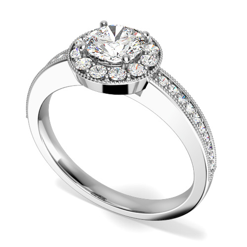 Inel de Logodna Solitaire cu Diamante Mici pe Lateral Dama Aur Alb 18kt cu un Diamant Rotund Briliant in Setare 4-Gheare inconjurat de Diamante Rotunde Briliant Mici
