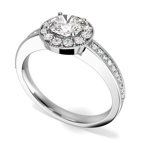 Inel de Logodna Solitaire cu Diamante Mici pe Lateral Dama Aur Alb 18kt cu un Diamant Rotund Briliant in Setare 4-Gheare inconjurat de Diamante Rotunde Briliant Mici