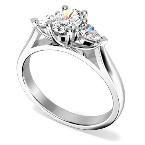Inel de Logodna cu 3 Diamante Dama Aur Alb 18kt cu un Diamant Oval si 2 Diamante in Forma de Para