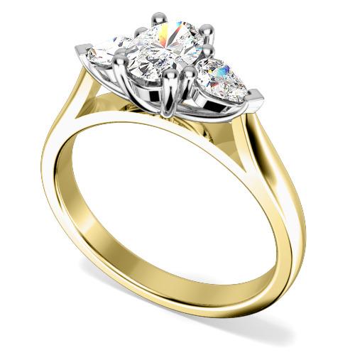 Inel de Logodna cu 3 Diamante Dama Aur Galben si Aur Alb 18kt cu un Diamant Oval si 2 Diamante in Forma de Para