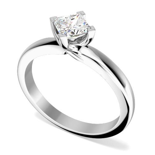 Inel de Logodna Solitaire Dama Aur Alb 18kt cu un Diamant Princess Setat cu Gheare, Inel Stil Twist