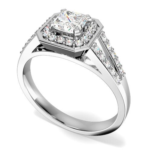 Inel de logodna cu Diamante Dama Aur Alb 18kt cu Diamant Central Princess Inconjurat de Diamante Rotund Briliant Mici