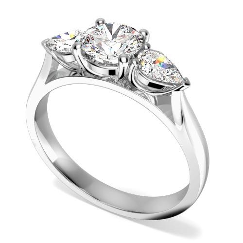 Inel de Logodna cu 3 Diamante Dama Aur Alb 18kt cu un Diamant Central Rotund Briliant si Diamante in Forma de Para in Setare Gheare pe Fiecare Parte