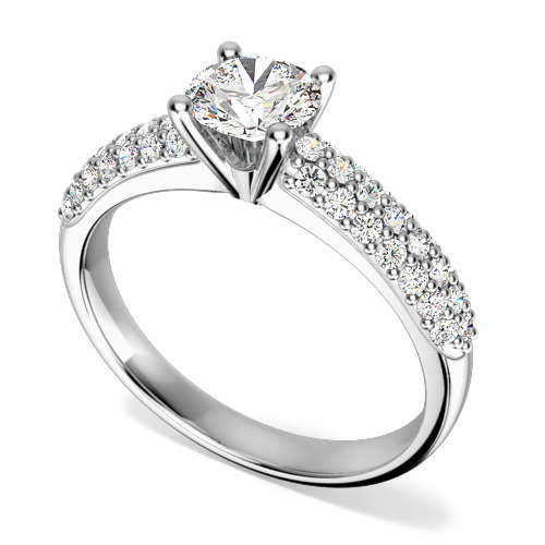 Inel de Logodna Solitaire cu Diamante Mici pe Lateral Dama Aur Alb 18kt cu un Diamant Central Rotund Briliant si Diamante pe Lateral Asezate in 3 Randuri