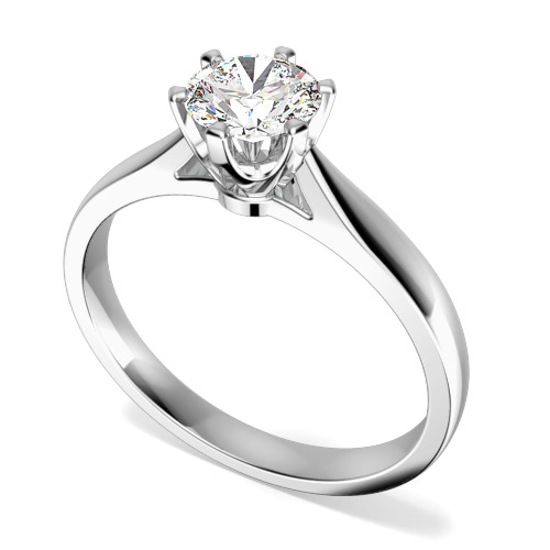 Inel de Logodna Solitaire Dama Aur Alb 9kt cu un Diamant Rotund Briliant in Setare Gheare in Stoc