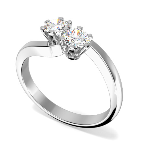 Inel de Logodna Solitaire Dama Platina cu 2 Diamante Rotund Briliant in Setare Gheare