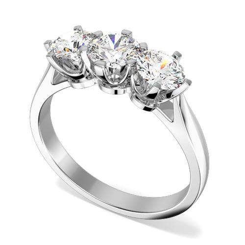 Inel de Logodna cu 3 Diamante Dama Platina cu 3 Diamante Rotund Briliant in Setare Gheare