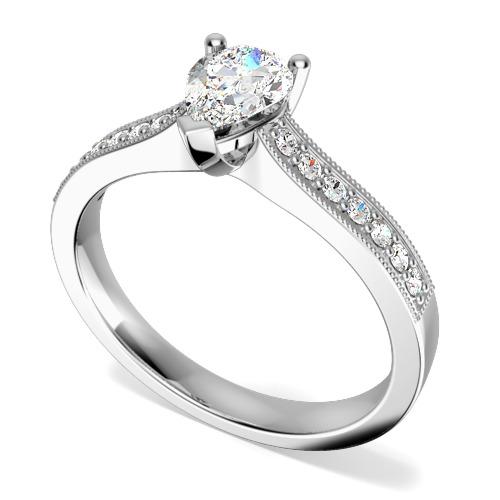 Inel de Logodna Solitaire cu Diamante Mici pe Lateral Dama Aur Alb 18kt cu un Diamant Forma Para si Diamante Rotund Briliant pe Lateral