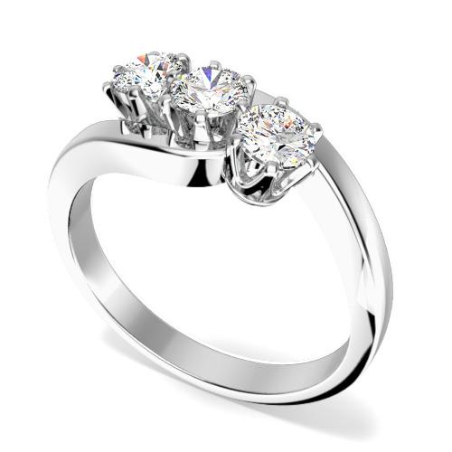 Inel de Logodna cu 3 Diamante Dama Aur Alb 18kt cu 3 Diamante Rotund Briliant in Setare Gheare, Stil Rasucit