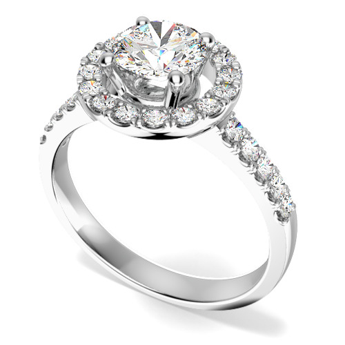Inel Cocktail/ Inel de Logodna cu Diamante Dama Platina cu Diamante Rotund Briliant Setate cu Gheare Stil Halo