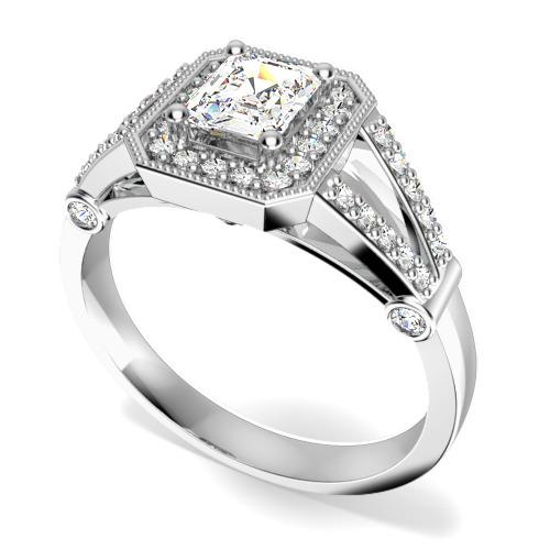 Inel Cocktail/Inel de Logodna cu Diamante Dama Platina cu un Diamant Central Forma Smarald si Diamante Rotunde Briliant Imprejur