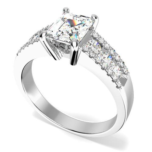 Inel de Logodna Solitaire cu Diamante Mici pe Lateral Dama Aur Alb 18kt cu Diamant Central in Forma Smarald si Diamante Rotund Briliant pe Margini