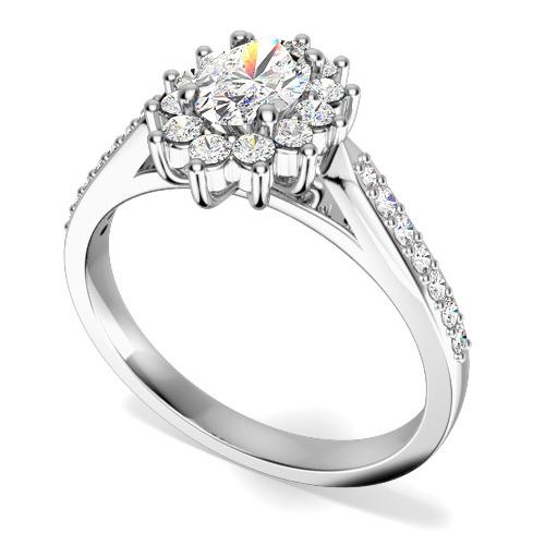 Inel de Logodna Solitaire cu Diamante Mici pe Lateral Dama Aur Alb 18kt cu un Diamant Central Oval si Diamante Mici pe Lateral, in Setare Gheare