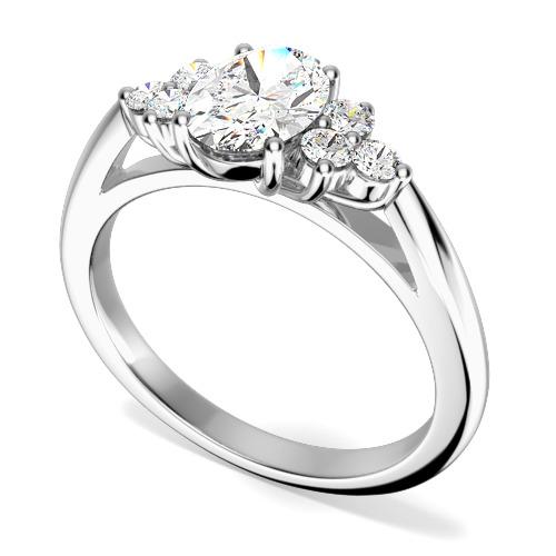 Inel de Logodna/Inel cu 3 Diamante Dama Aur Alb 18kt cu un Diamant Oval in Centru si Diamante Rotund Briliant pe Fiecare Parte