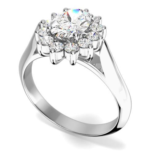 Inel Cocktail/Inel de Logodna cu Diamante Dama Aur Alb 18kt cu un Diamant Forma Ovala si Diamante Rotunde Briliant Setate cu Gheare