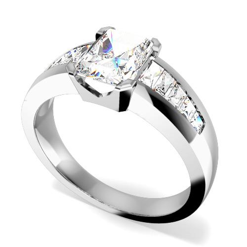 Inel de Logodna cu Diamante Dama Aur Alb 18kt cu un Diamant Forma Smarald si Diamante Bagheta pe Margini