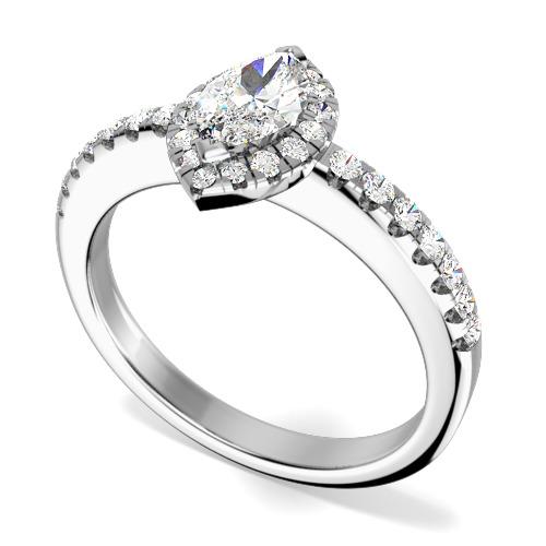 Inel Cocktail/Inel de Logodna cu Diamante Dama Aur Alb 18kt cu Diamant Forma Marchiza si Diamante Rotunde Mici