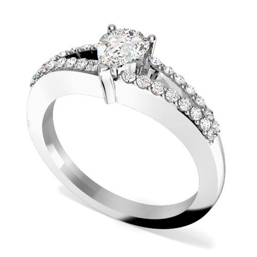 Inel de Logodna Solitaire cu Diamante Mici pe Lateral Dama Aur Alb 18kt cu Diamant Central in Forma de Para si Diamante Rotund Briliant in Jur in Setare Gheare