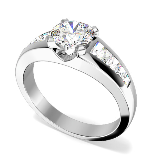 Inel de Logodna cu Diamante Dama Aur Alb 18kt cu un Diamant Rotund Briliant in Centru si Diamante Forma Bagheta pe Margini