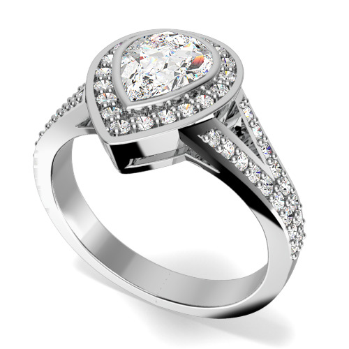 Inel de Logodna Cluster Dama Aur Alb 18kt cu un Diamant in Forma de Para in Setare Rub-Over si Diamante Rotund Briliant pe Margini