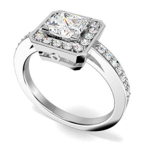 Inel de Logodna Solitaire cu Diamante Mici pe Lateral din Platina cu un Diamant Princess si Diamante Rotunde Briliant