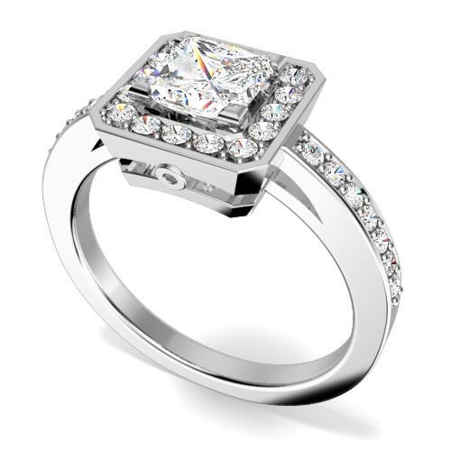 Inel de Logodna Solitaire cu Diamante Mici pe Lateral din Platina cu un Diamant Princess si Diamante Rotunde Briliant