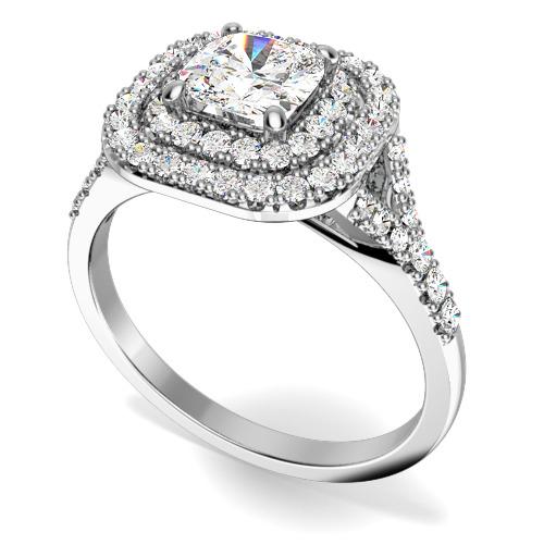 Inel de Logodna cu Diamante Dama Aur Alb 18kt cu un Diamant Central Cushion Inconjurat de Diamante Mici Rotund Briliant