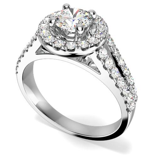 Inel de Logodna cu Mai Multe Diamante Dama Aur Alb 18kt cu un Diamant Central Rotund Briliant si Diamante Rotund Briliant pe Margini Toate in Setare Gheare