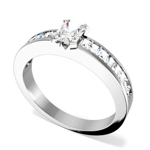 Inel de Logodna Solitaire Dama Aur Alb 18kt cu un Diamant Central Taietura Smarald si Diamante Mici Forma Bagheta pe Lateral