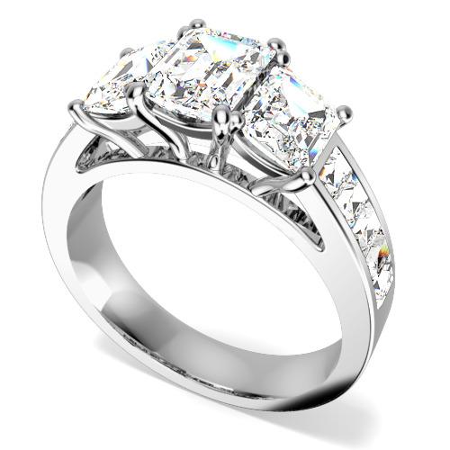 Inel de Logodna cu 3 Diamante Dama Aur Alb 18kt cu 3 Diamante in Forma Smarald in Setare Gheare si Diamante in Forma Bagheta pe Lateral