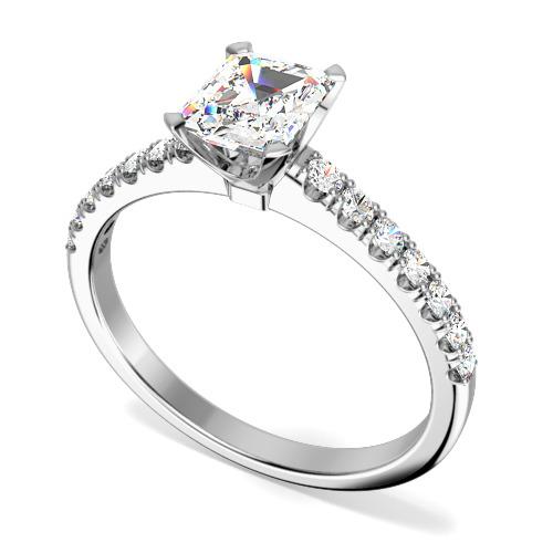 Inel de Logodna Solitaire cu Diamante Mici pe Lateral Dama Aur Alb 18kt cu Diamant Central Forma Smarald si Diamante Rotund Briliant Mici