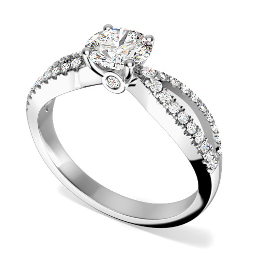 Inel de Logodna Solitaire cu Diamante Mici pe Lateral Dama Aur Alb 18kt cu Diamant Central Rotund si 36 Diamante pe Lateral