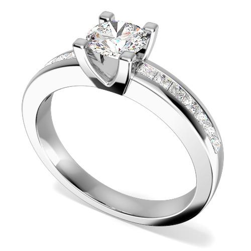 Inel de Logodna cu Diamante Dama Aur Alb 18kt cu un Diamant Rotund Briliant in Centru si Diamante Mici Princess pe Margini