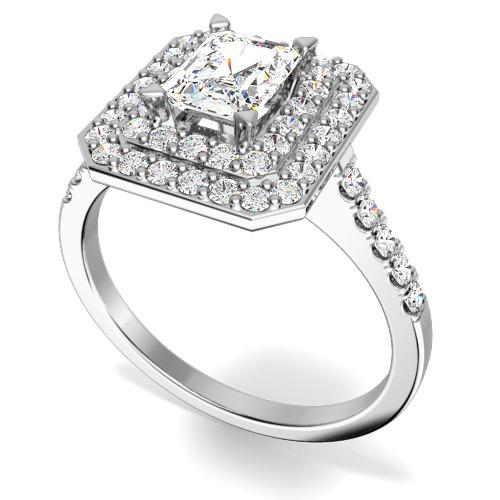 Inel de Logodna Cluster Dama Aur Alb 18kt cu un Diamant Forma Smarald in Centru si Diamante Mici Rotund Briliant pe Margini