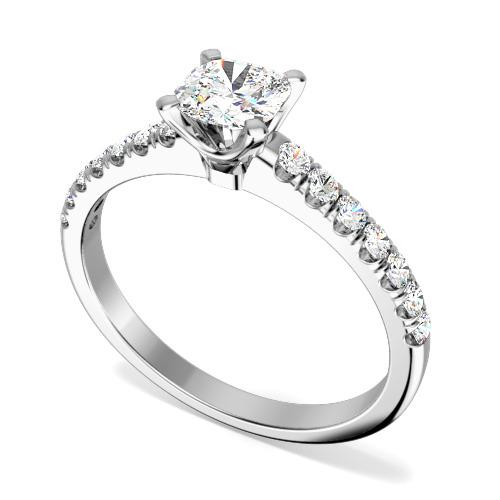 Inel de Logodna Solitaire cu Diamante Mici pe Lateral Dama Aur Alb 18kt cu Diamant Cushion in Centru si Diamante Mici Rotunde