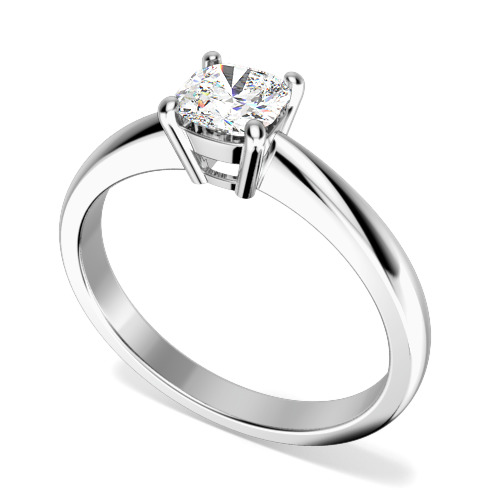 Inel de Logodna Solitaire Dama Aur Alb 18kt cu un Diamant Cushion in Setare cu 4 Gheare