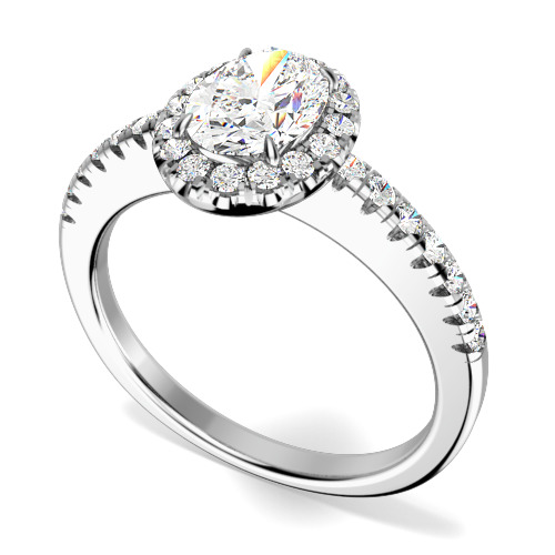 Inel Cocktail/ Inel de Logodna cu Diamante Dama Aur Alb 18kt cu un Diamant Oval si Diamante Rotunde Briliant