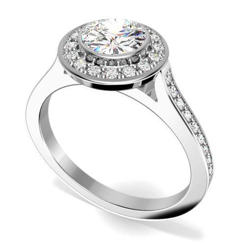 Inel de Logodna cu Diamante Dama Aur Alb 18kt cu un Diamant Central Rotund Briliant in Setare Rub Over si Diamante Mici Rotund Briliant Imprejur si pe Margini