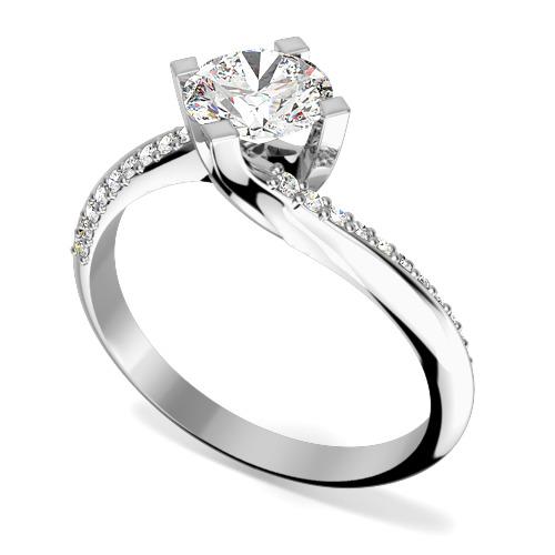 Inel de Logodna Solitaire cu Diamante Mici pe Lateral Dama Aur Alb 18kt cu Diamant Central Rotund Briliant in Montura Rasucita