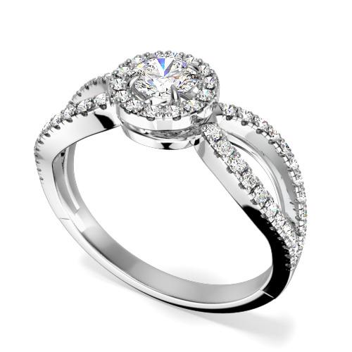 Inel de Logodna Solitaire cu Diamante Mici pe Lateral Dama Aur Alb 18kt cu un Diamant Central Rotund Briliant si Diamante Mici Rotund Briliant pe Margini si Lateral