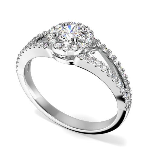 Inel de logodna cu Diamante Laterale Dama Aur Alb 18kt cu Briliante Rotunde