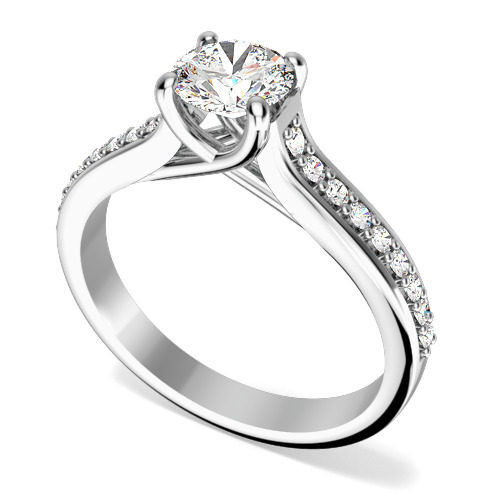 Inel aur alb 18kt cu diamant central rotund brilliant si diamante rotunde brilliant pe lateral