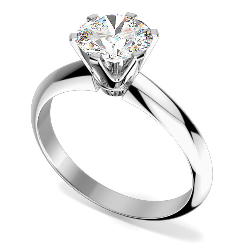 Inel de Logodna Solitaire Dama Aur Alb 18kt cu un Diamant Rotund Setat cu 6 Gheare