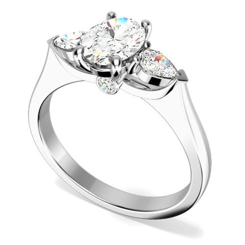 Inel de Logodna cu 3 Diamante Dama Aur Alb 18kt cu un Diamant Oval si 2 Diamante Forma Para pe Margini
