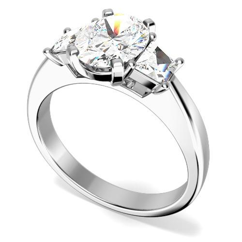 Inel de Logodna cu 3 Diamante Dama Aur Alb 18kt cu un Diamant Central Forma Ovala si Doua Diamante in Forma de Trapez