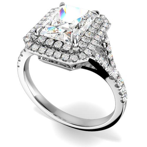 Inel de Logodna cu Diamante Dama Aur Alb 18kt cu Diamant Central Taietura Smarald si Diamante Mici Rotund Briliant Imprejur si pe Lateral