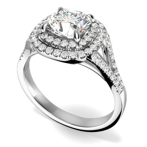 Inel Cocktail/Inel de Logodna cu Diamante Dama Aur Alb 18kt cu un Diamant Central Cushion Stil Dublu Halo